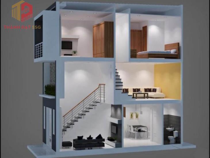 Các mẫu nhà 2 tầng có gác lửng
