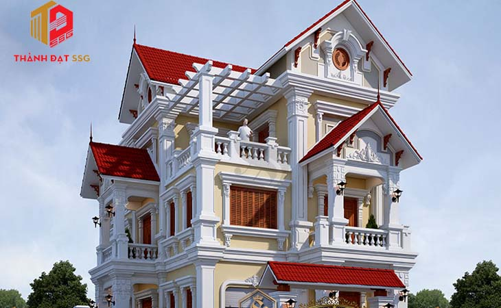 Mẫu thiết kế kiến trúc tân cổ điển kiểu nhà mái Thái
