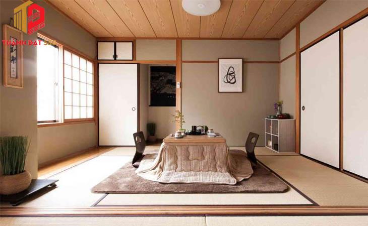 Thiết kế phòng khách nội thất phong cách kiến trúc Nhật Bản