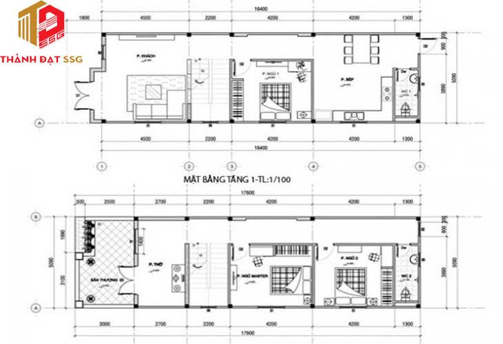 Thiết kế nhà phố 6x17mThiết kế nhà phố 6x17m