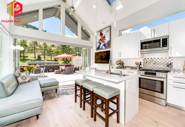 Mẫu thiết kế nội thất phòng khách liền bếp