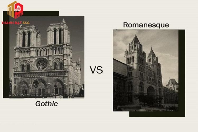 Sự khác nhau giữa kiến trúc Roman và Gothic
