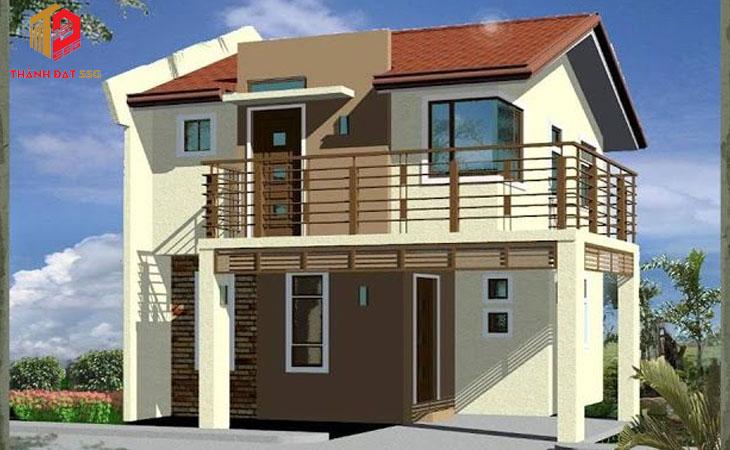 Mẫu thiết kế nhà vuông 2 tầng mái thái